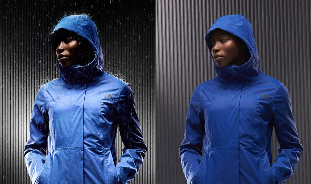 photo retouching model north face rain